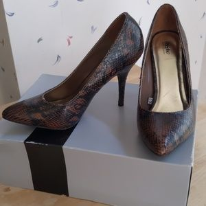 Brown Faux Snakeskin Heels